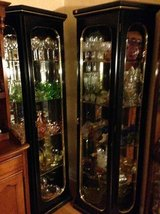 2 Black Lighted Curio Cabinets in Naperville, Illinois