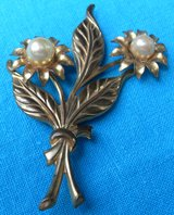 Vintage Brooch OLD Gold Metal Large Pearls Flower Bouquet Hand Tooled Ready to Wear in Kingwood, Texas