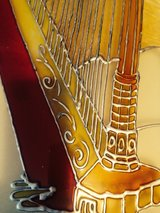 Beautifully painted harp on glass. Framed. Antique. in Alamogordo, New Mexico